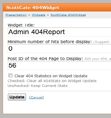 Scott Cate 404, Version 1.0.0.1 Widget Image